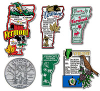 Vermont Six-Piece State Magnet Set by Classic Magnets, Includes 6 Unique Designs, Collectible Souvenirs Made in the USA