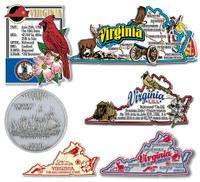 Virginia Six-Piece State Magnet Set by Classic Magnets, Includes 6 Unique Designs, Collectible Souvenirs Made in the USA