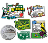 Washington Six-Piece State Magnet Set by Classic Magnets, Includes 6 Unique Designs, Collectible Souvenirs Made in the USA