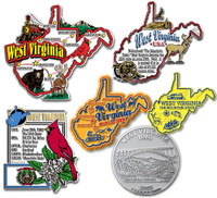 West Virginia Six-Piece State Magnet Set by Classic Magnets, Includes 6 Unique Designs, Collectible Souvenirs Made in the USA