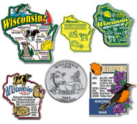 Wisconsin Six-Piece State Magnet Set by Classic Magnets, Includes 6 Unique Designs, Collectible Souvenirs Made in the USA