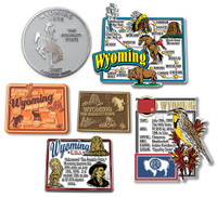 Wyoming Six-Piece State Magnet Set by Classic Magnets, Includes 6 Unique Designs, Collectible Souvenirs Made in the USA