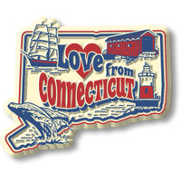 """""""Love from Connecticut"""" Vintage State Magnet by Classic Magnets, Collectible Souvenirs Made in the USA"""
