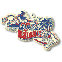 """""""Love from Hawaii"""" Vintage State Magnet by Classic Magnets, Collectible Souvenirs Made in the USA"""