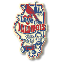 """""""Love from Illinois"""" Vintage State Magnet by Classic Magnets, Collectible Souvenirs Made in the USA"""