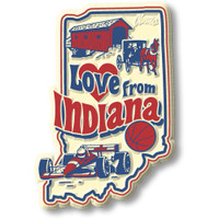 """""""Love from Indiana"""" Vintage State Magnet by Classic Magnets, Collectible Souvenirs Made in the USA"""