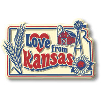 """""""Love from Kansas"""" Vintage State Magnet by Classic Magnets, Collectible Souvenirs Made in the USA"""