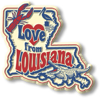 """""""Love from Louisiana"""" Vintage State Magnet by Classic Magnets, Collectible Souvenirs Made in the USA"""