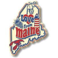 """""""Love from Maine"""" Vintage State Magnet by Classic Magnets, Collectible Souvenirs Made in the USA"""