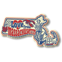 """""""Love from Massachusetts"""" Vintage State Magnet by Classic Magnets, Collectible Souvenirs Made in the USA"""