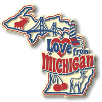 """""""Love from Michigan"""" Vintage State Magnet by Classic Magnets, Collectible Souvenirs Made in the USA"""