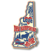 """""""Love from New Hampshire"""" Vintage State Magnet by Classic Magnets, Collectible Souvenirs Made in the USA"""