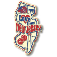 """""""Love from New Jersey"""" Vintage State Magnet by Classic Magnets, Collectible Souvenirs Made in the USA"""