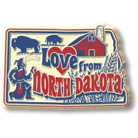 """""""Love from North Dakota"""" Vintage State Magnet by Classic Magnets, Collectible Souvenirs Made in the USA"""