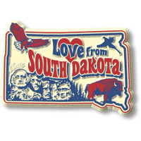 """""""Love from South Dakota"""" Vintage State Magnet by Classic Magnets, Collectible Souvenirs Made in the USA"""