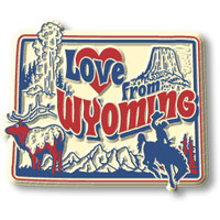 """""""Love from Wyoming"""" Vintage State Magnet by Classic Magnets, Collectible Souvenirs Made in the USA"""