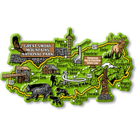 Great Smoky Mountains National Park Map Magnet by Classic Magnets, Collectible Souvenirs Made in the USA
