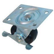 "CASTER PLATE SWIVEL W/BRAKE 2-1/2"" DIA X 3/4"" W Plate Mount Holds 200 lbs 263335"
