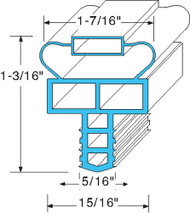 "DOOR GASKET 10 3/8"" X 21 7/8"" Gray Push-In Mount for Randell 2-2020F01 741284"