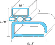DOOR GASKET 7 5/8 X 24 3/8 Rubber R-Type Grey for Delfield Randell 20042F 741006