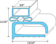 "DOOR GASKET 23-1/2"" X 58"" Rubber R-Type Grey Screw Mount for Randell 741036"