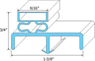 DOOR GASKET 25 X 62-1/4 Rubber R-Type for Victory Refrigerator SR47 Full 741069