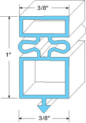 "DOOR GASKET 18-1/2"" X 54-1/8"" Black Snap-In Mount for True Refrigerator 741055"