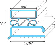 "DOOR GASKET 6 7/8"" X 23 3/8"" Rubber R Type for Traulsen OEM 341-21461-00 741052"