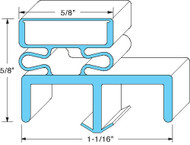 "DOOR GASKET 38 1/2"" X 79"" 3-Sided LH Hinge Filler No Mag Gray for Norlake 741275"
