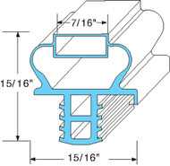 "DOOR GASKET 10 7/8"" X 21 7/8"" Blue Push-In Mount for Delfield 24"" 1701191 741263"