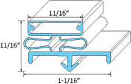 "DOOR GASKET 21 3/8"" X 60 1/2"" Gray for Continental Refrigeration # 2-723 741252"