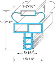 "DOOR GASKET 13 1/4"" X 22"" Push-In Mount Gray H 1-3/16""  Randell INGSK1042 741281"