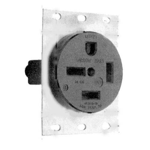 Single Receptacle Arrow Hart  Cooper Angled 4 Wire 3 Phase 50a  250v 15-50r 381281