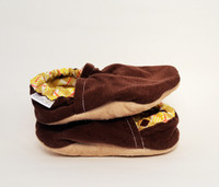 Chocolate Corduroy Bison Booties 12-18 months