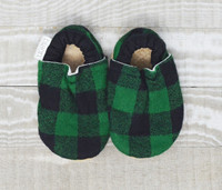 Evergreen Flannel Bison Booties 0-6 months