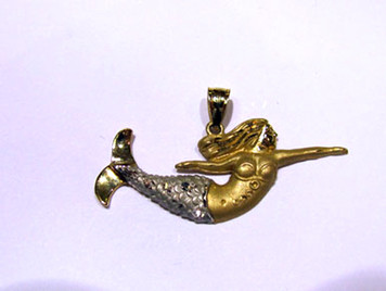 14K two tone Mermaid large pendant