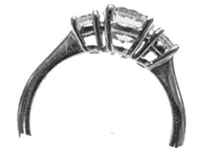 Three diamond ring .77ctw