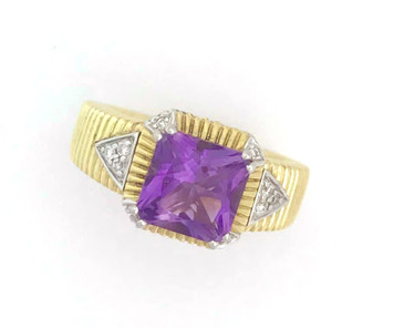 Amethyst and diamond gold ring