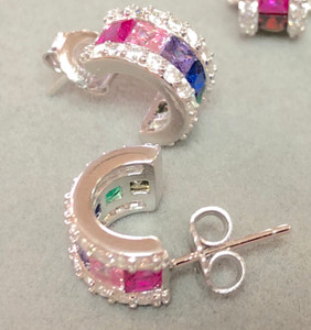 Sterling Silver multi-color birthstones with cz half hoop earrings.