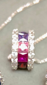 Sterling Silver Rondelle with multi-color birthstones and cz