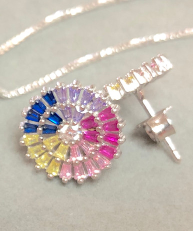 Sterling Silver earrings with multi-color birthstones and cz