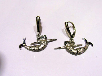 Sterling Mermaid lever back earrings