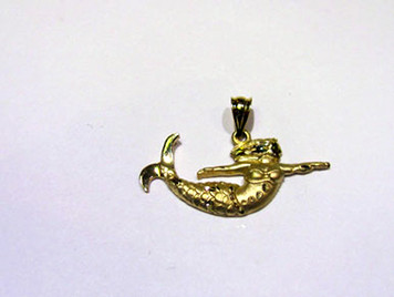 14K Mermaid small pendant