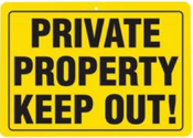 B&F Diamond Plate Sign - Private Property Keep Out!