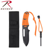 Rothco Large Paracord Knife W/ Fire Starter - Orange