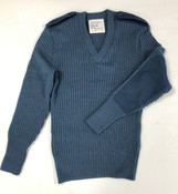New Surplus Canadian Air Force Blue V Neck Wool Sweater- Size Large