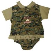 Marine Princess 0-3 Month Outfit.  Desert Camo
