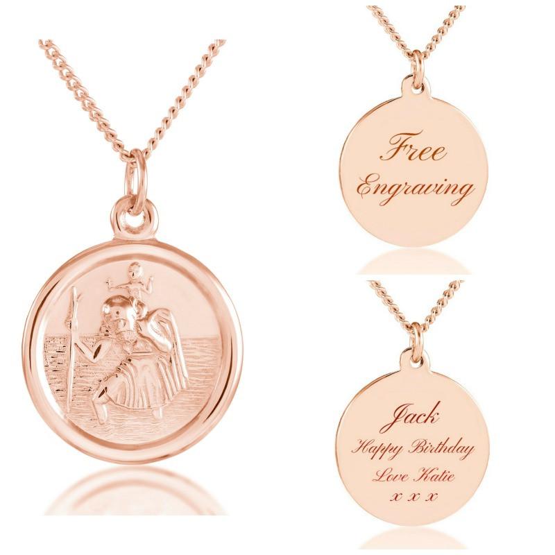2e76e72b9b6de 18ct Rose Gold vermeil personalised St Christopher unisex pendant.