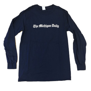 "Long sleeve t-shirt in navy, with a full ""Michigan Daily"" logo in white. Available in Small, Medium, and Large"
