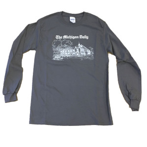 Long sleeve t-shirt, with a white outline of our building at 420 Maynard.